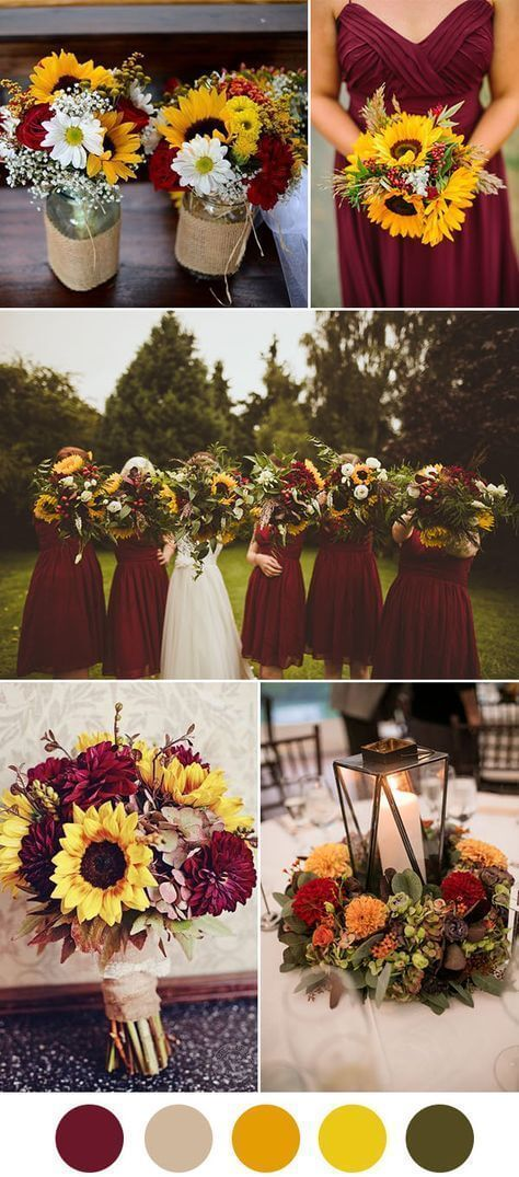 Dark red & Sunflower Wedding Ideas | Creative & Rustic Backyard Wedding Ideas For Summer & Fall