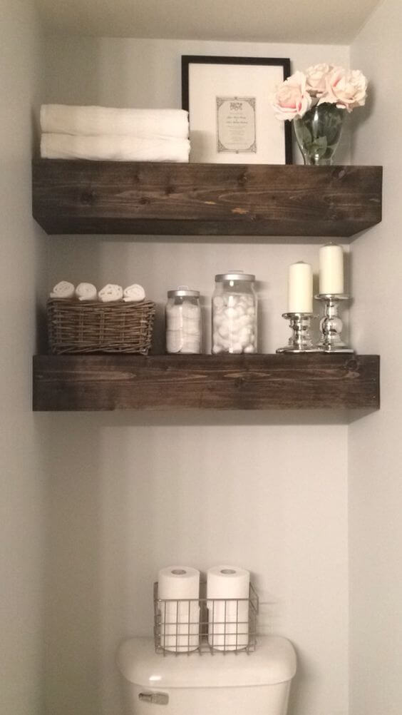 Wood shelves | Best Over the Toilet Storage Ideas for Bathroom