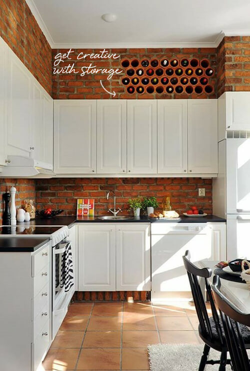 Exposed brick | Best White Kitchen Cabinet Decor Ideas