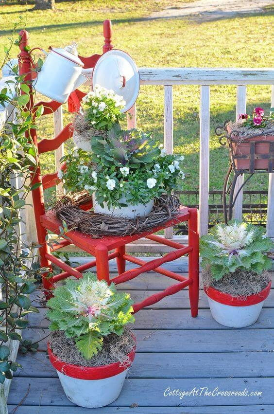 Farmhouse Red Chair Planter | Creative Upcycled DIY Chair Planter Ideas For Your Garden