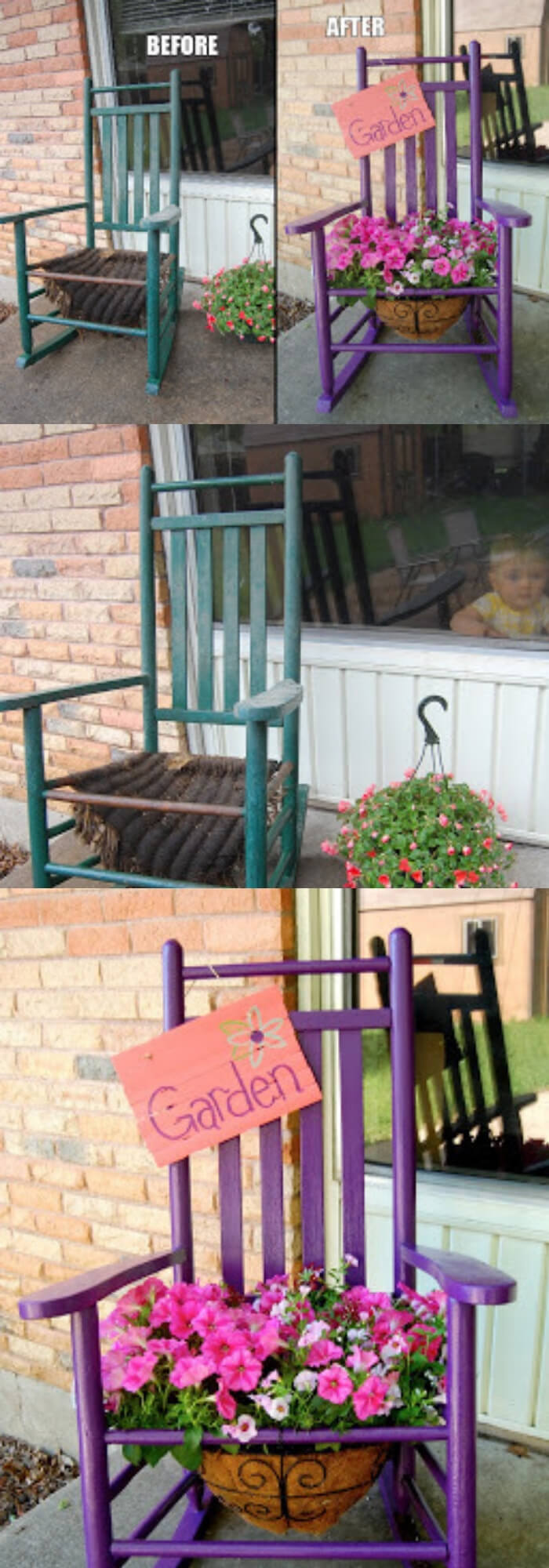 The rocking chair planter (before and after) | Creative Upcycled DIY Chair Planter Ideas For Your Garden
