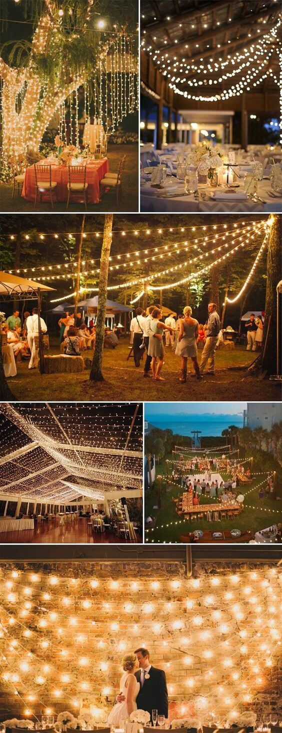 Backyard Wedding Lighting ideas | Creative & Rustic Backyard Wedding Ideas For Summer & Fall