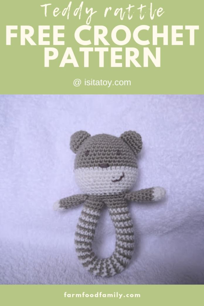 Teddy rattle | Rattle Free Crochet Patterns For Baby