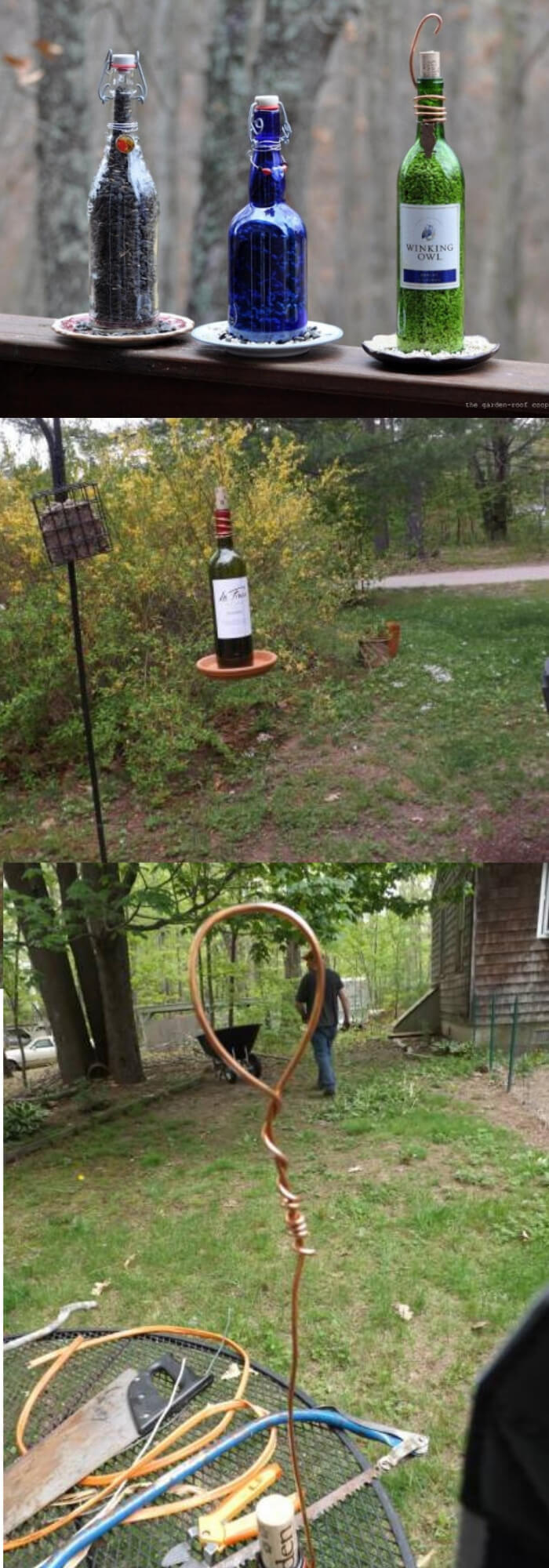 Upcycled Wine Bottle Bird Feeder