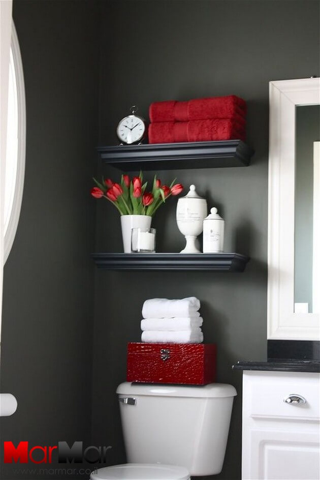 Black and red shelves | Best Over the Toilet Storage Ideas for Bathroom