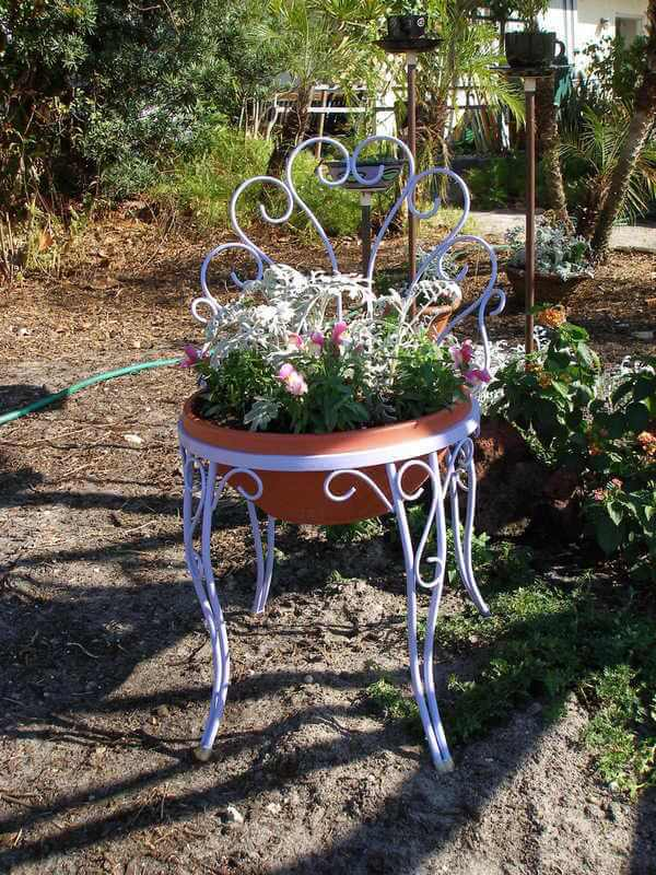 Ice cream chair planter | Creative Upcycled DIY Chair Planter Ideas For Your Garden