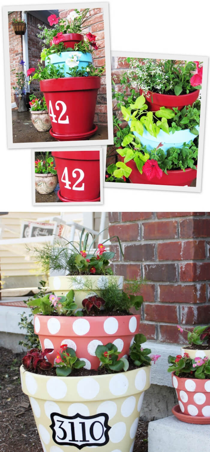 Dotted Tired Planters   DIY Spring Porch Decor Designs & Ideas