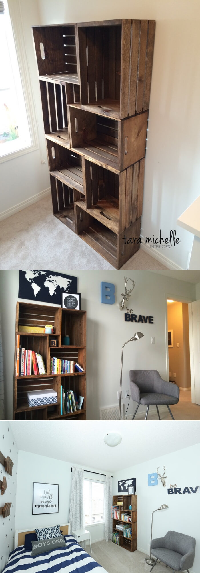 DIY Crate Bookshelf | Best DIY Wood Crate Projects & Ideas