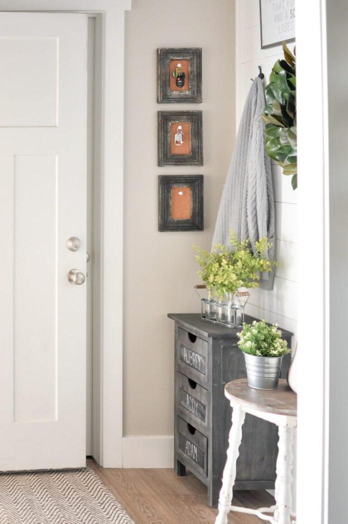 Key hangers +Chalkboard 3 Drawer Chest + Planters | Best Small Entryway Decor & Design Ideas | Small Mudroom Ideas | FarmFoodFamily.com