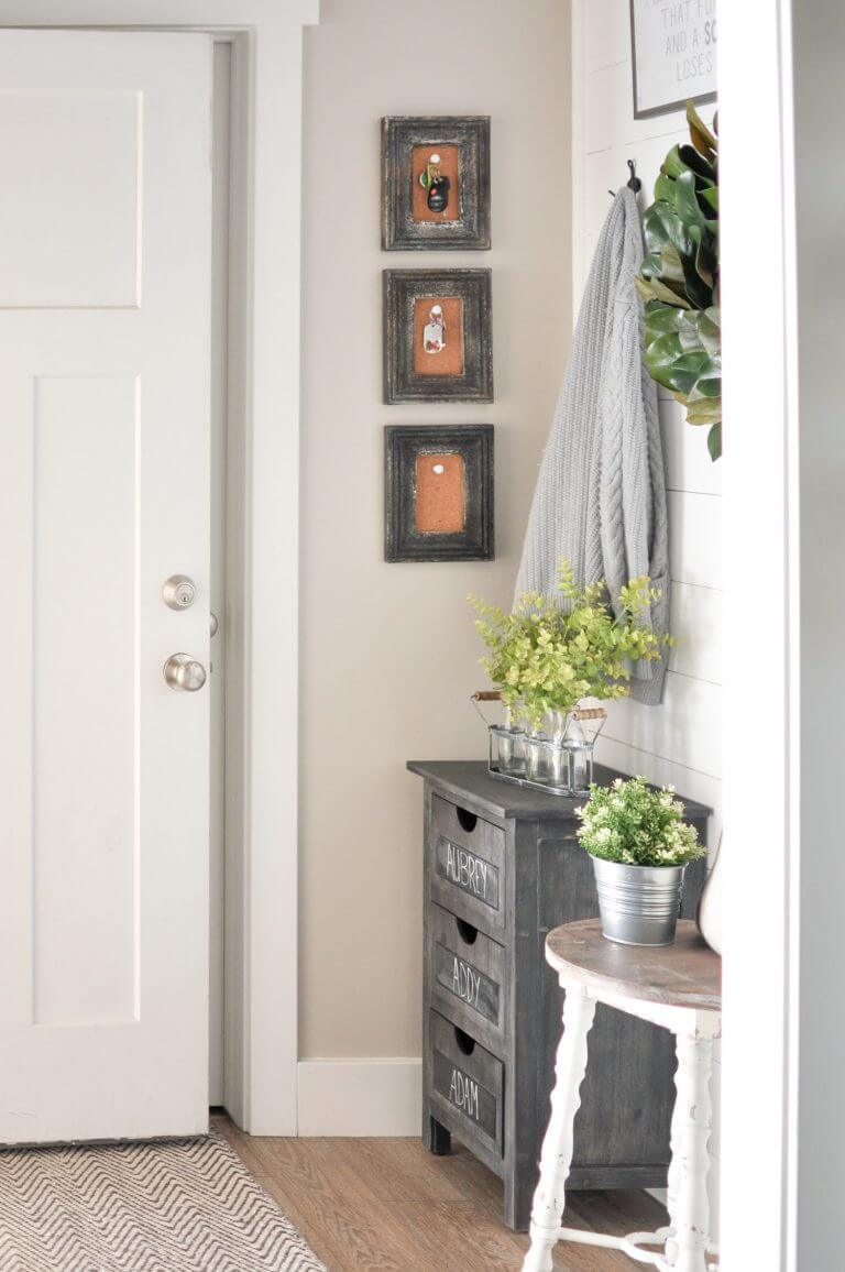 Key hangers +Chalkboard 3 Drawer Chest + Planters   Best Small Entryway Decor & Design Ideas   Small Mudroom Ideas   FarmFoodFamily.com