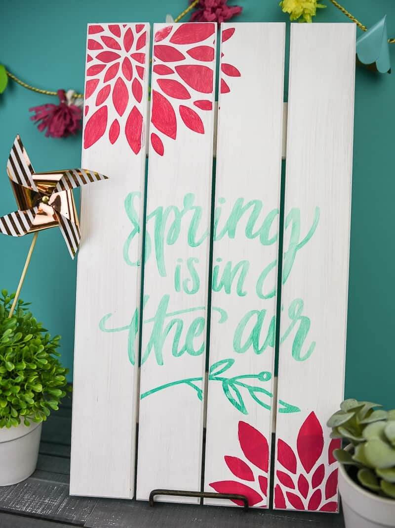 Wooden Sign: Spring is on the air | Best Spring Porch Sign Decor Ideas & Designs