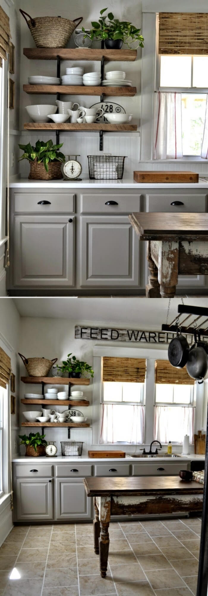 Open shelves | Inspiring Farmhouse Kitchen Design & Decor Ideas