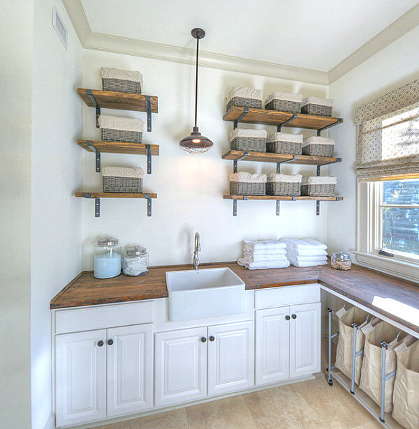 DIY Farmhouse Laundry Room Ideas: Open, Wall-Mounted Laundry Room Shelving