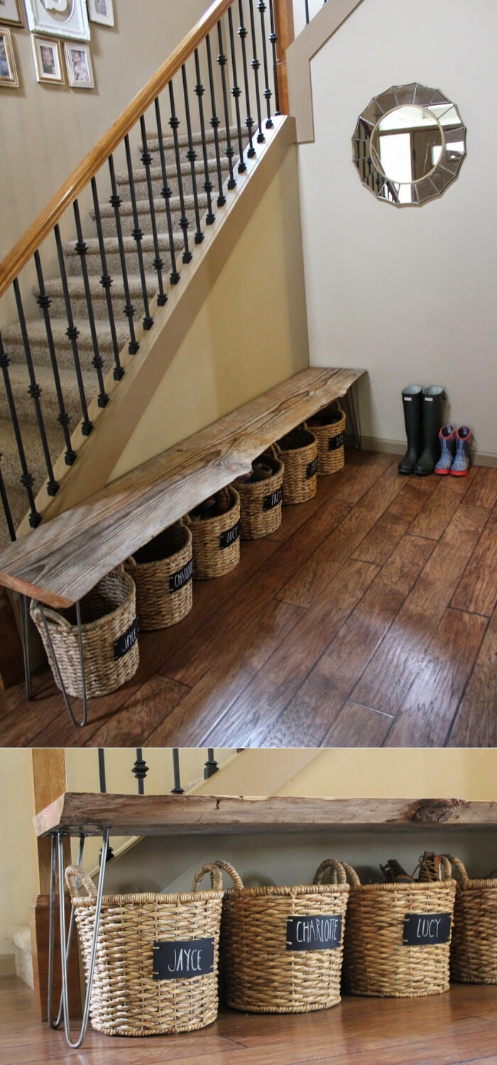 Shoe Storage Under a Bench | Smart Shoe Storage Ideas & Designs For Any Zoom Size