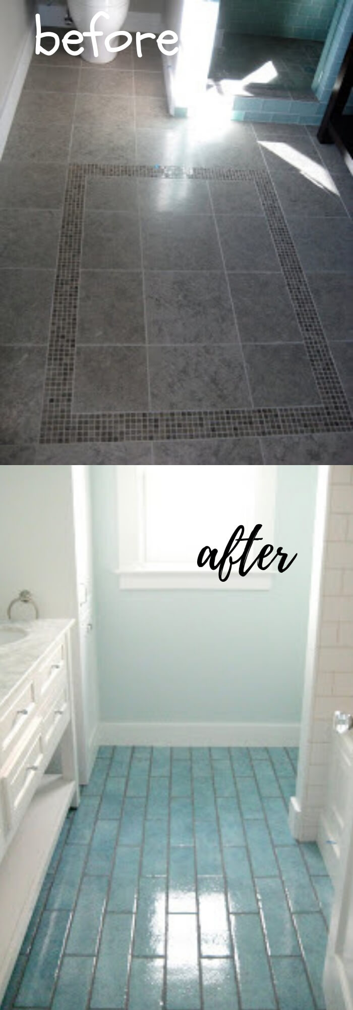 Remodel floor with Aqua Blue Tiles