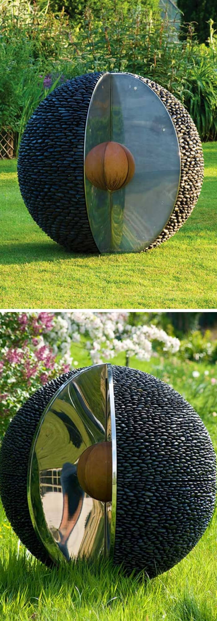 Black Stone Outdoor Spheres with Stainless Steel | Best DIY Garden Globe Ideas & Designs