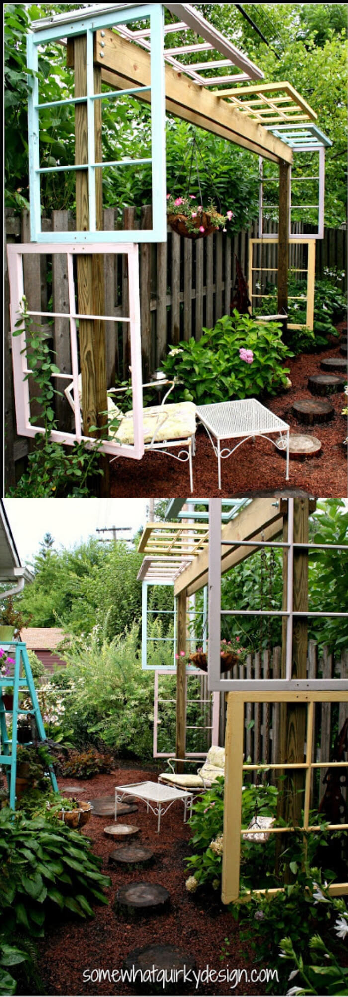 A Modified Pergola With Recycled Windows | Creative DIY Outdoor Window Decor Ideas