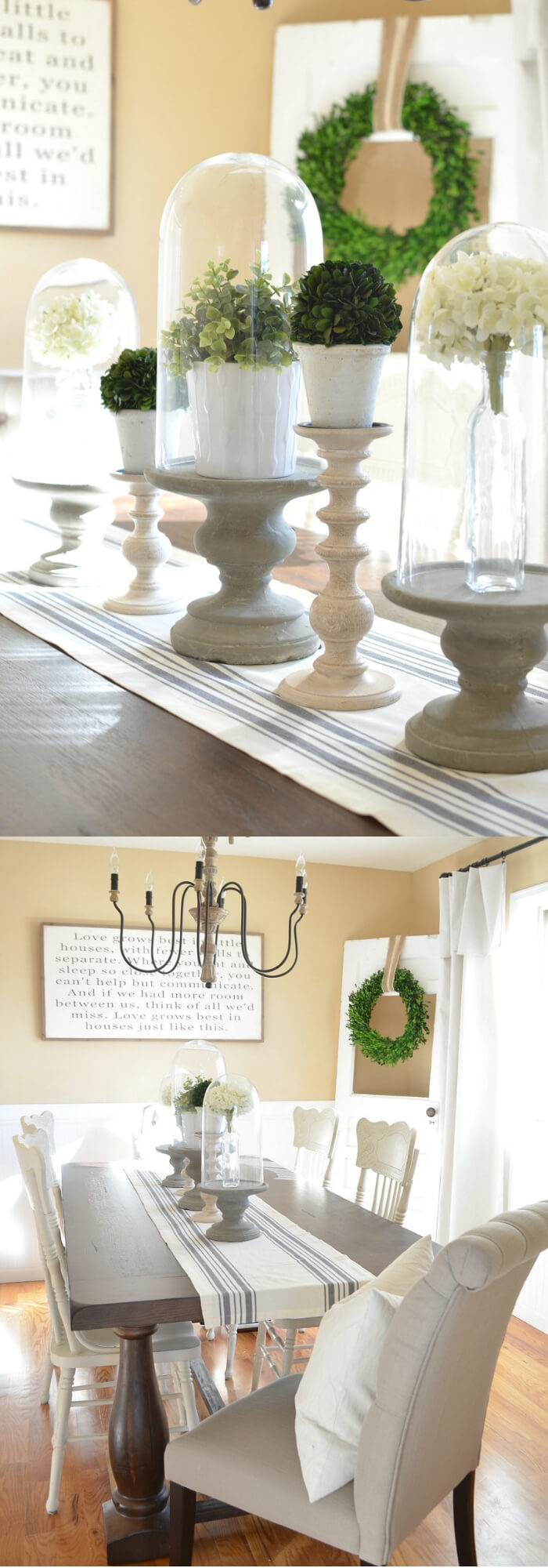 The dining table, chairs, and chandelier | Stunning Farmhouse Dining Room Design & Decor Ideas