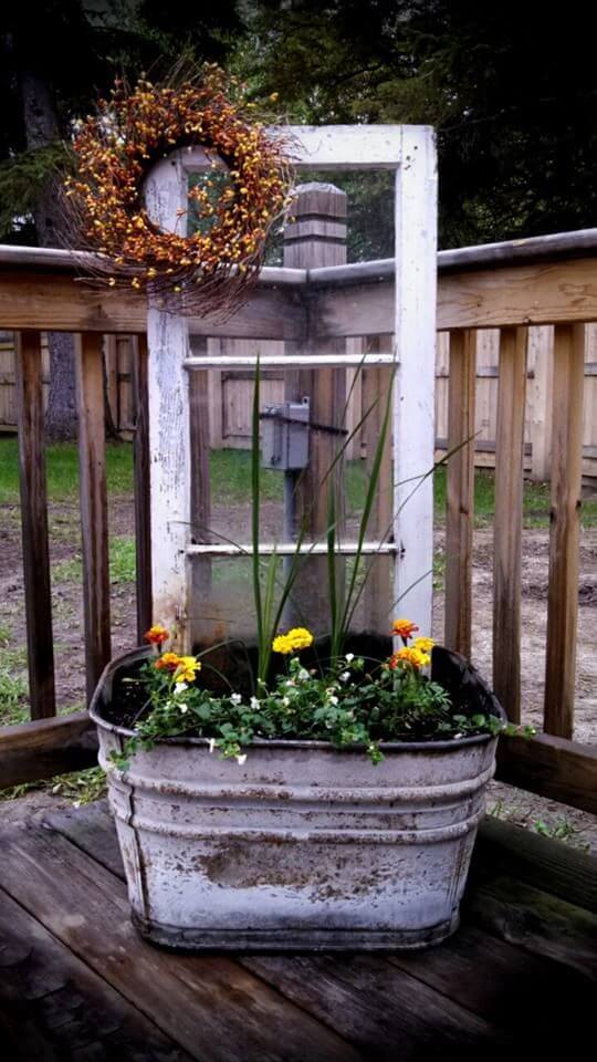 Reuse galvanized buckets and window frame | Creative DIY Outdoor Window Decor Ideas