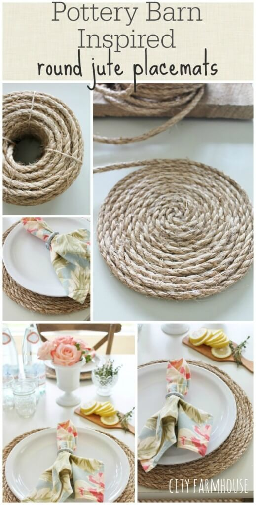 Pottery Barn Inspired Jute Placemats | Inspiring Farmhouse Kitchen Design & Decor Ideas