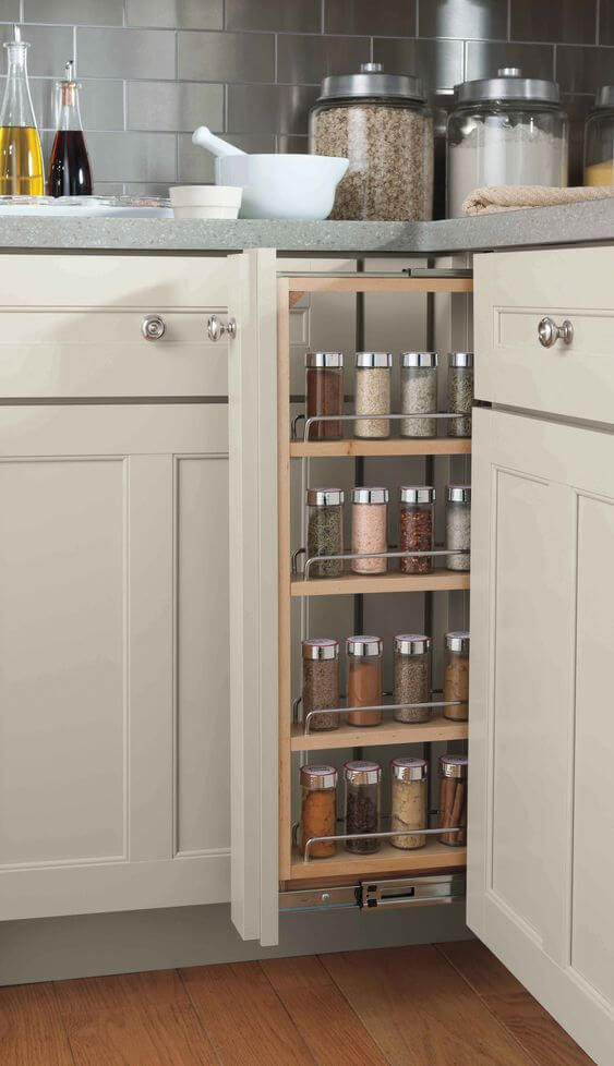 Store spices with a narrow cabinet pull out