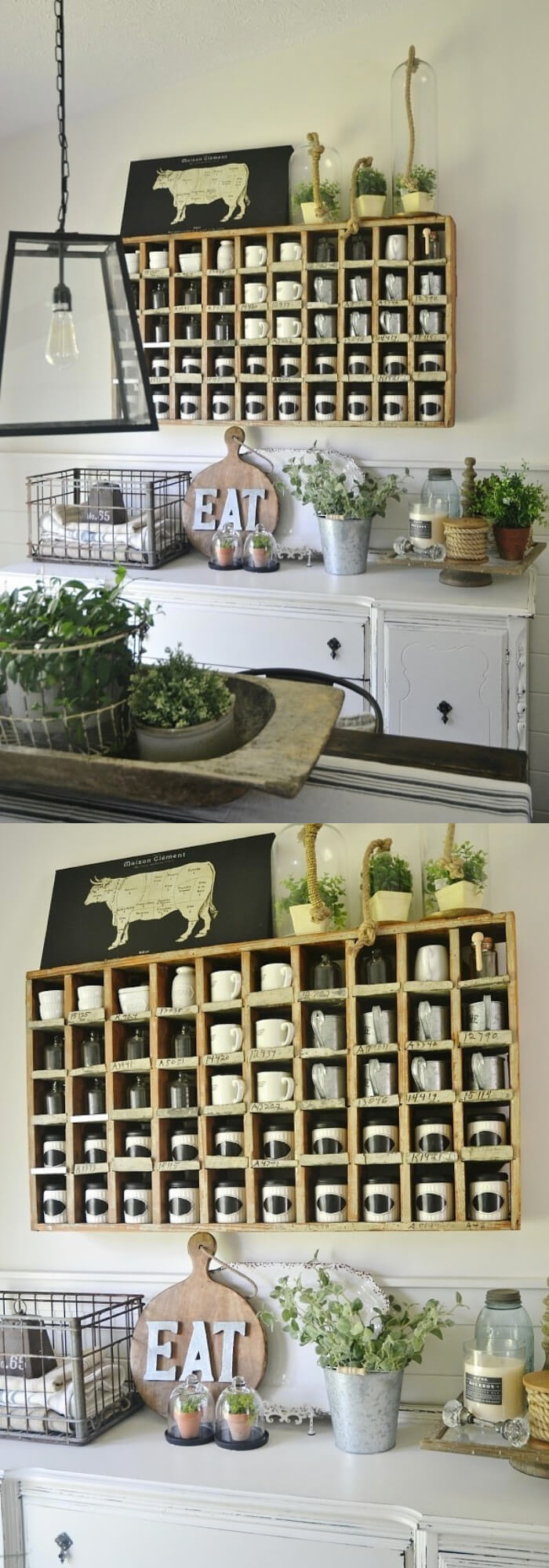 Cubbies with black & white spice jars | Stunning Farmhouse Dining Room Design & Decor Ideas