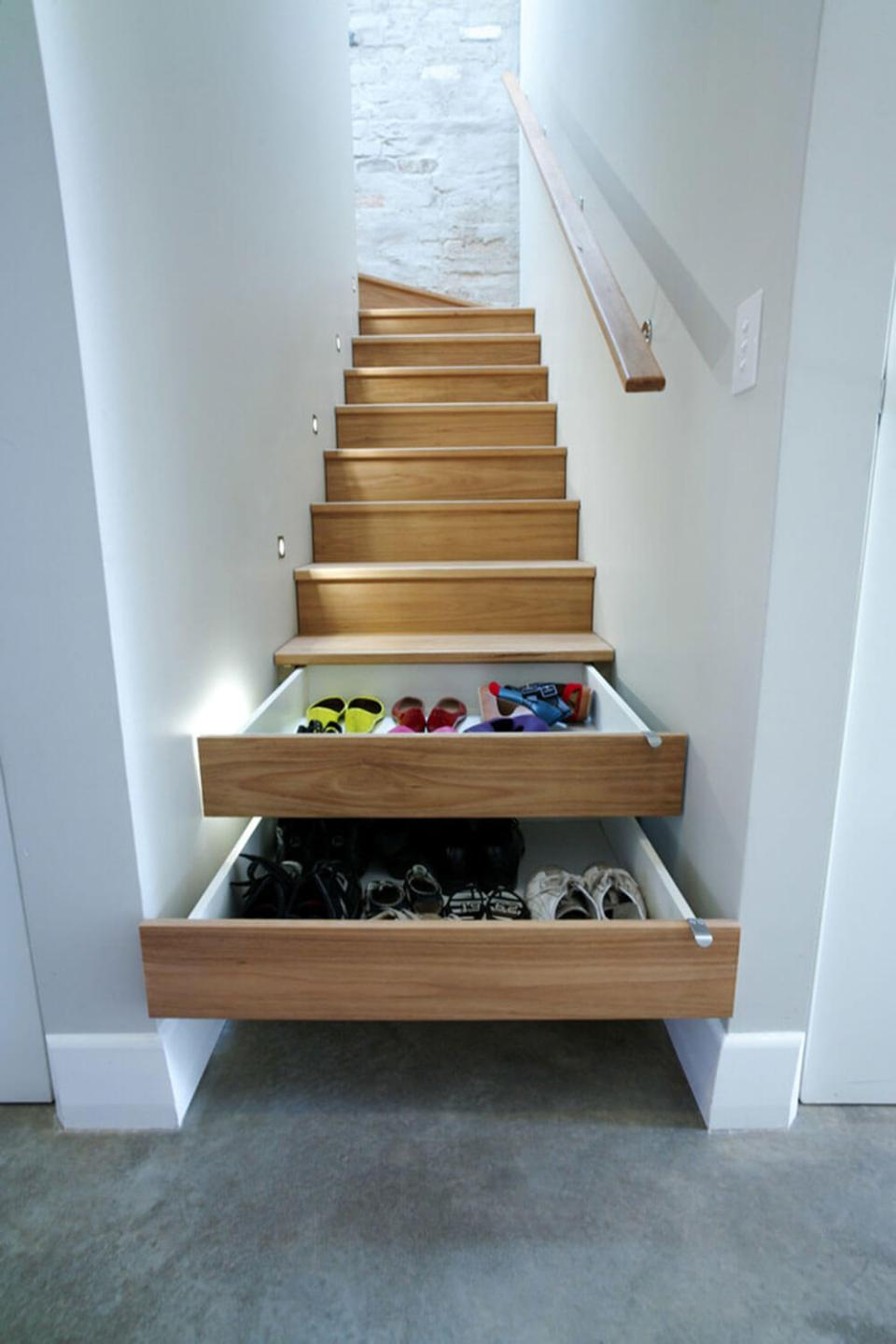 Drawers under the stairs | Smart Shoe Storage Ideas & Designs For Any Zoom Size