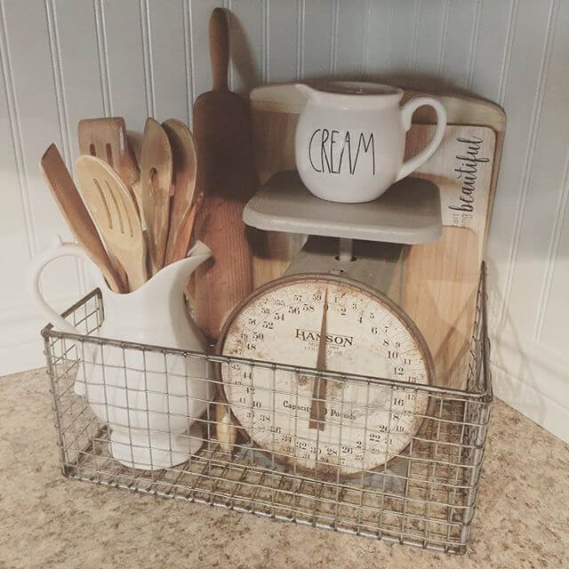 A basket with old scale | Inspiring Farmhouse Kitchen Design & Decor Ideas
