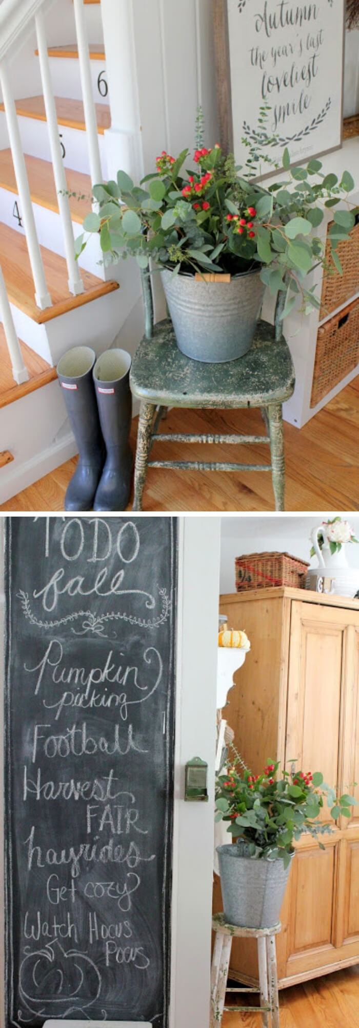 Galvanized bucket on an old chair with a chalk board | Best Farmhouse Indoor Plant Decor Ideas & Designs