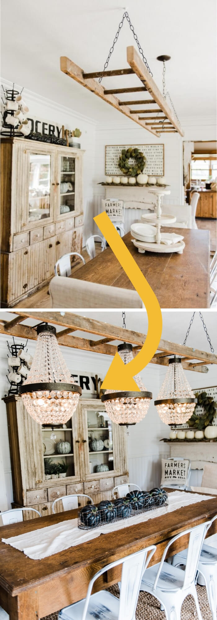 Turn a ladder into a light fixture | Stunning Farmhouse Dining Room Design & Decor Ideas