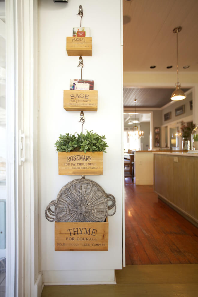 Hanging Wooden Boxes with Herbs | Best Farmhouse Indoor Plant Decor Ideas & Designs