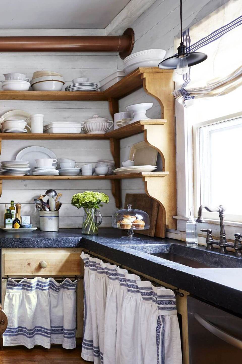 Pine shelves with blue countertops, and skirted storage from old linen tablecloth | Inspiring Farmhouse Kitchen Design & Decor Ideas