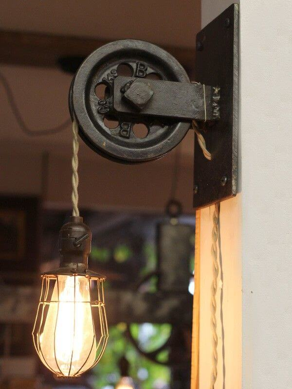 Farmhouse Lighting Designs & Ideas: Rustic Farmhouse Pulley Pendant Light