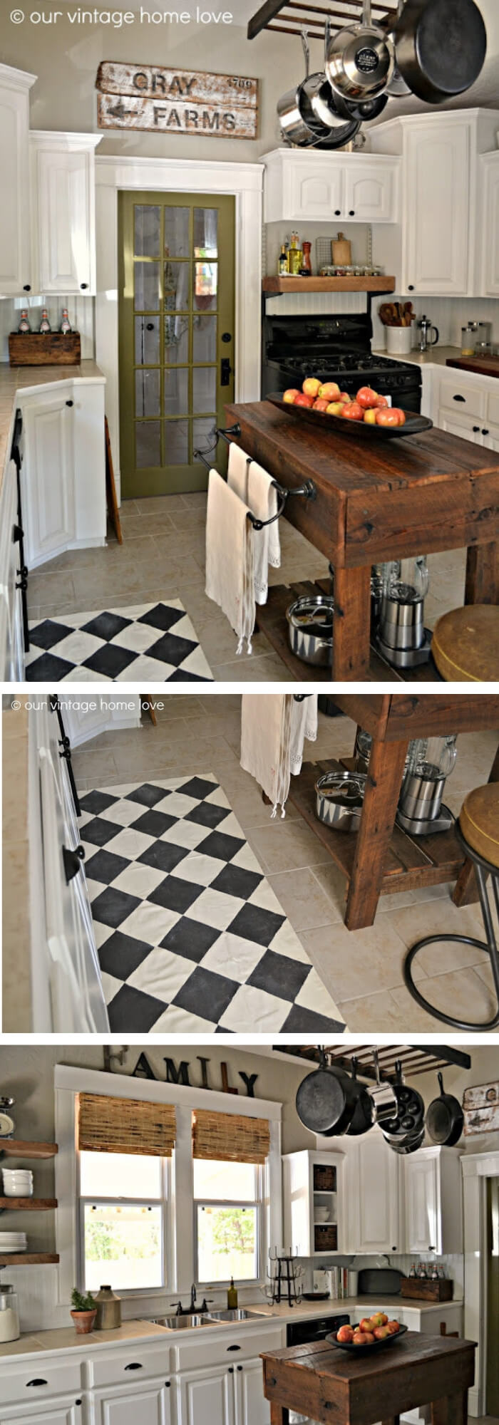 Dark wood Kitchen Island with a floor cloth in front of the sink | Inspiring Farmhouse Kitchen Design & Decor Ideas
