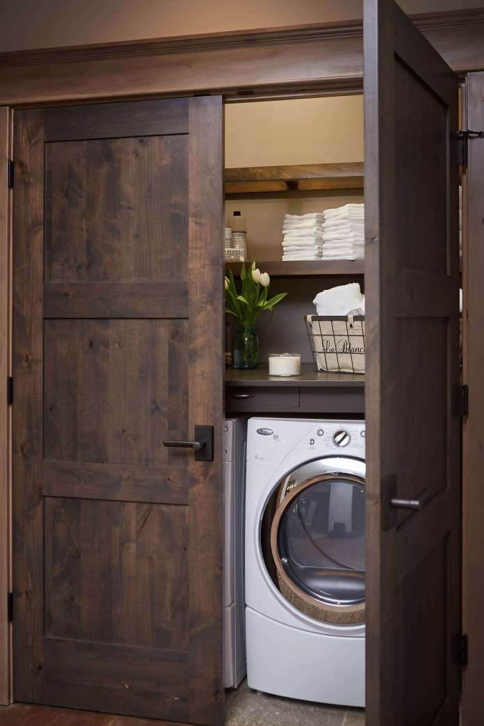 DIY Farmhouse Laundry Room Ideas: Place washer under the wraps