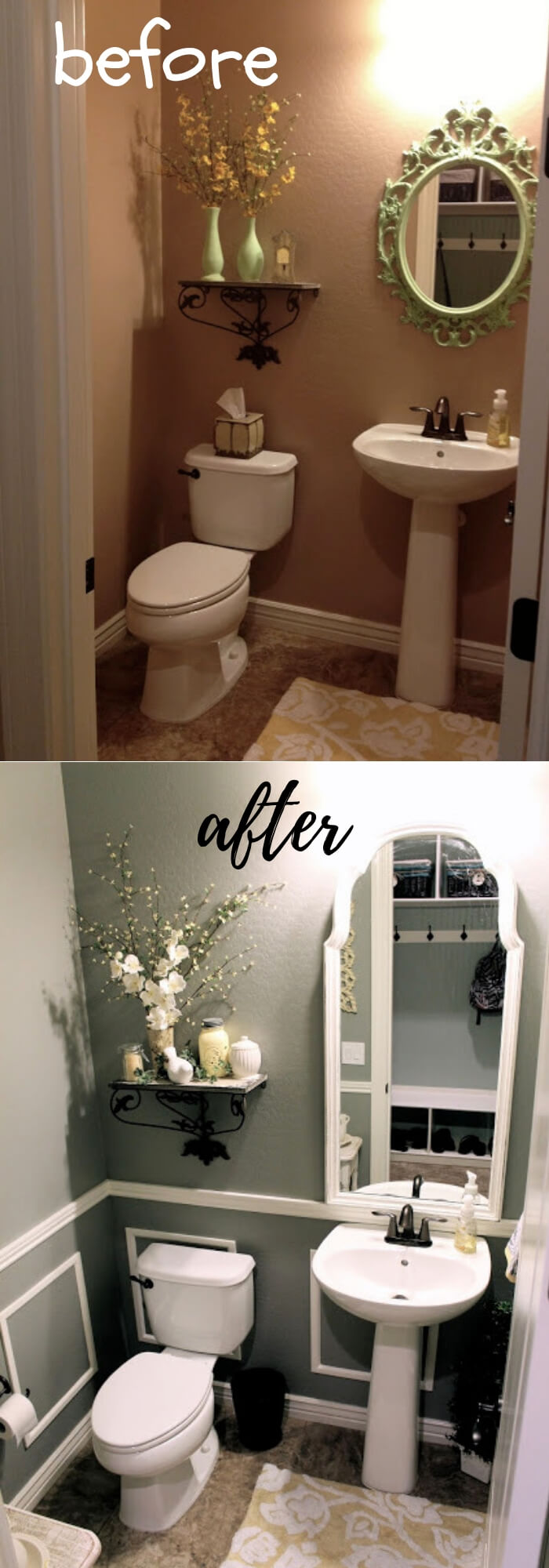 Thrifty Bathroom Makeover with faux wainscoating