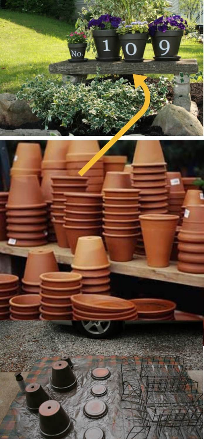 DIY Ideas To Upgrade Your Garden: House number flower pots