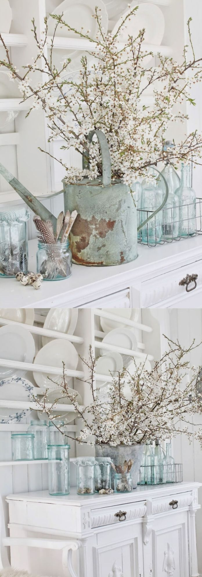 Beautiful blue old Norwegian glasses with flowers | Stunning Farmhouse Dining Room Design & Decor Ideas