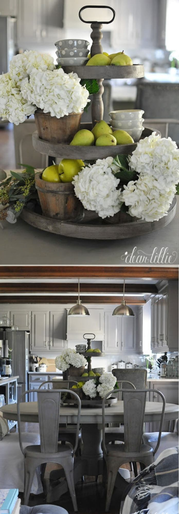Bring three tiered stand back onto kitchen table with the cute little polka dot jars | Inspiring Farmhouse Kitchen Design & Decor Ideas