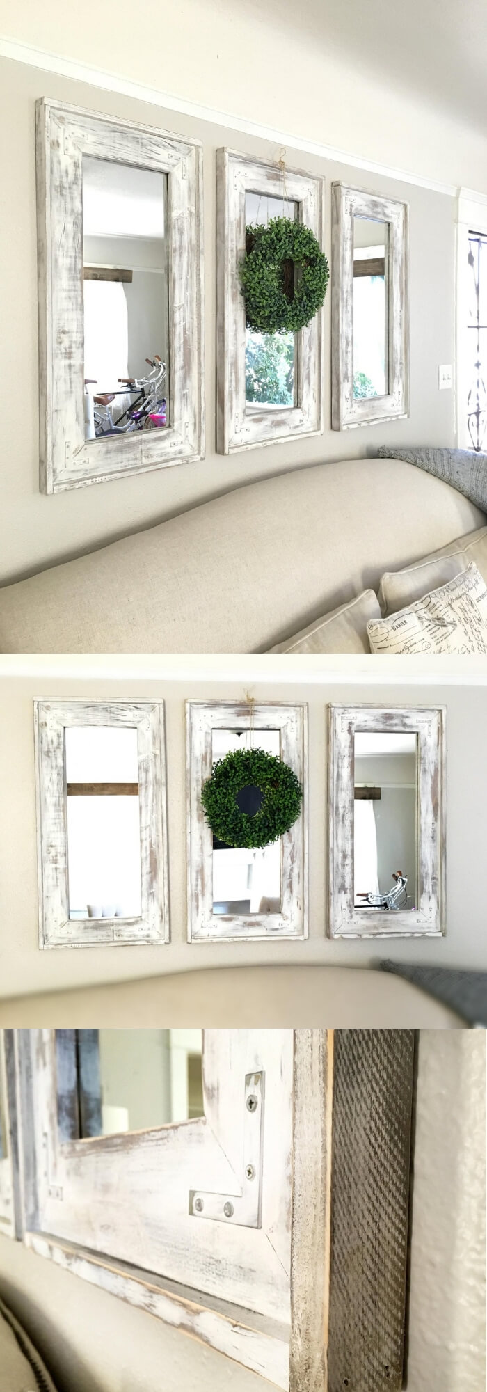 Wood frame Farmhouse set of three mirrors | Inspiring Farmhouse Kitchen Design & Decor Ideas