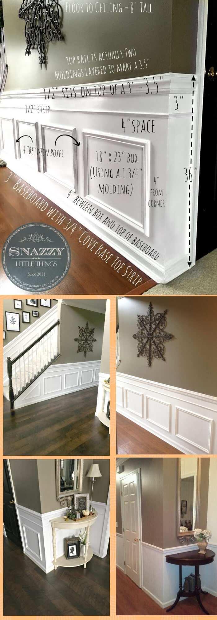 DIY Classic Wainscoting for entryway and hallway | Amazing Wainscoting Ideas for Your New Home