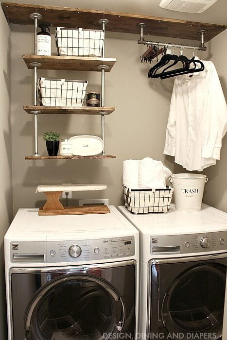 DIY Farmhouse Laundry Room Ideas: Laundry Room Shelving