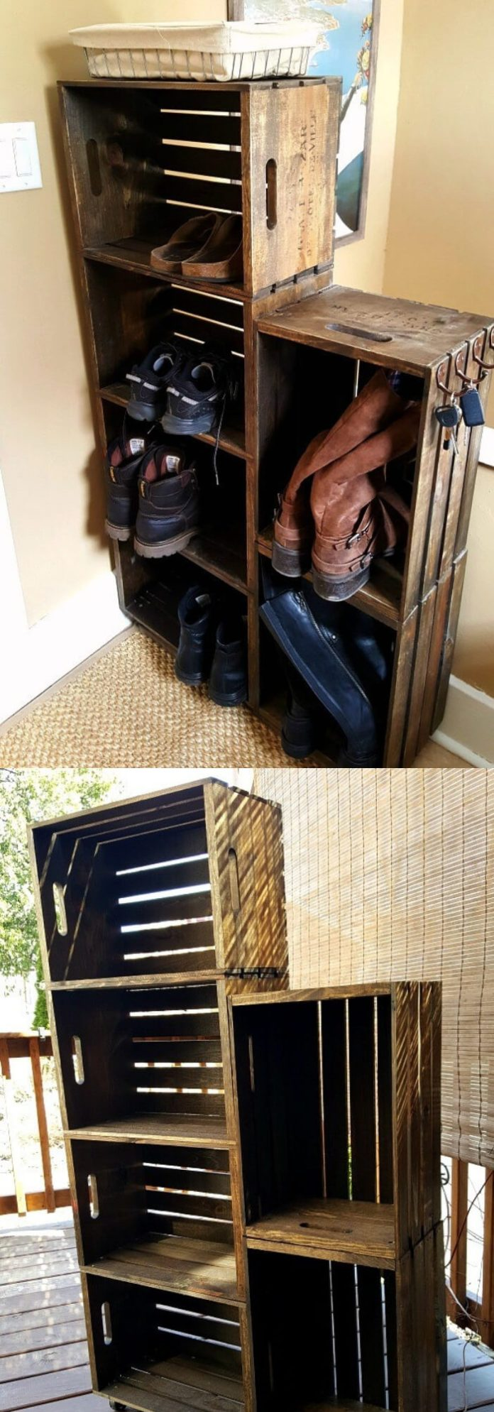 Wooden Crate Shoe Rack | Smart Shoe Storage Ideas & Designs For Any Zoom Size