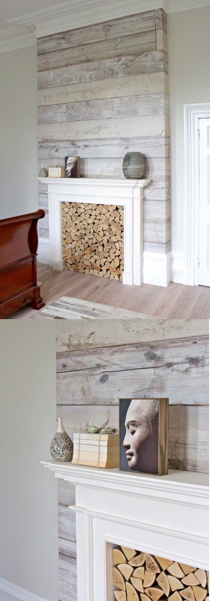 Fireplace with white wood wall