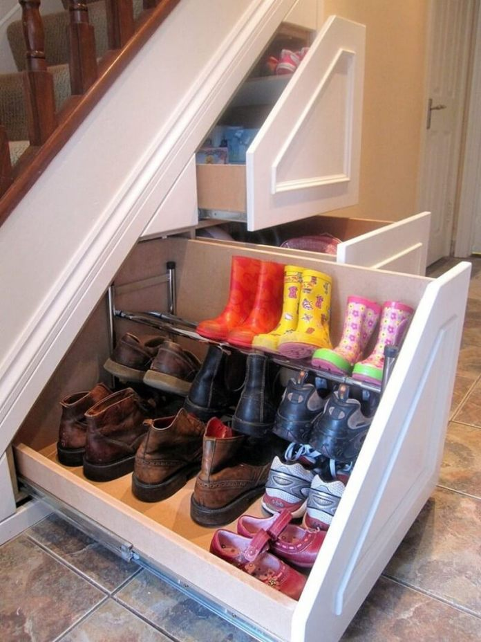 Under the staircase | Smart Shoe Storage Ideas & Designs For Any Zoom Size