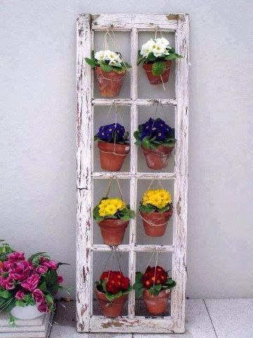 DIY Ideas To Upgrade Your Garden: Hanging Container with old window frames