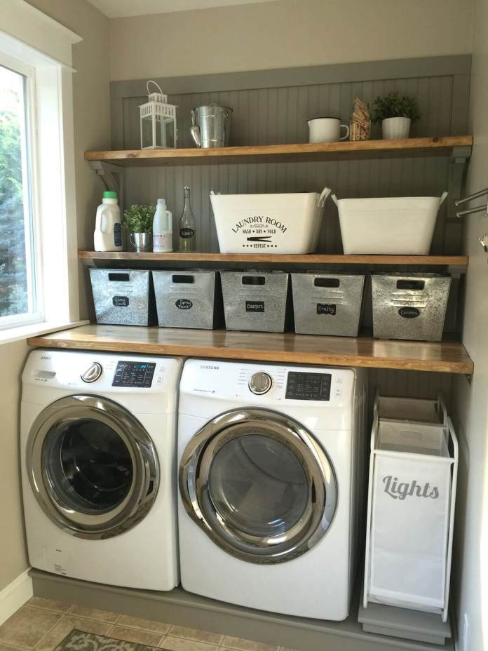 DIY Farmhouse Laundry Room Ideas: Wood countertops