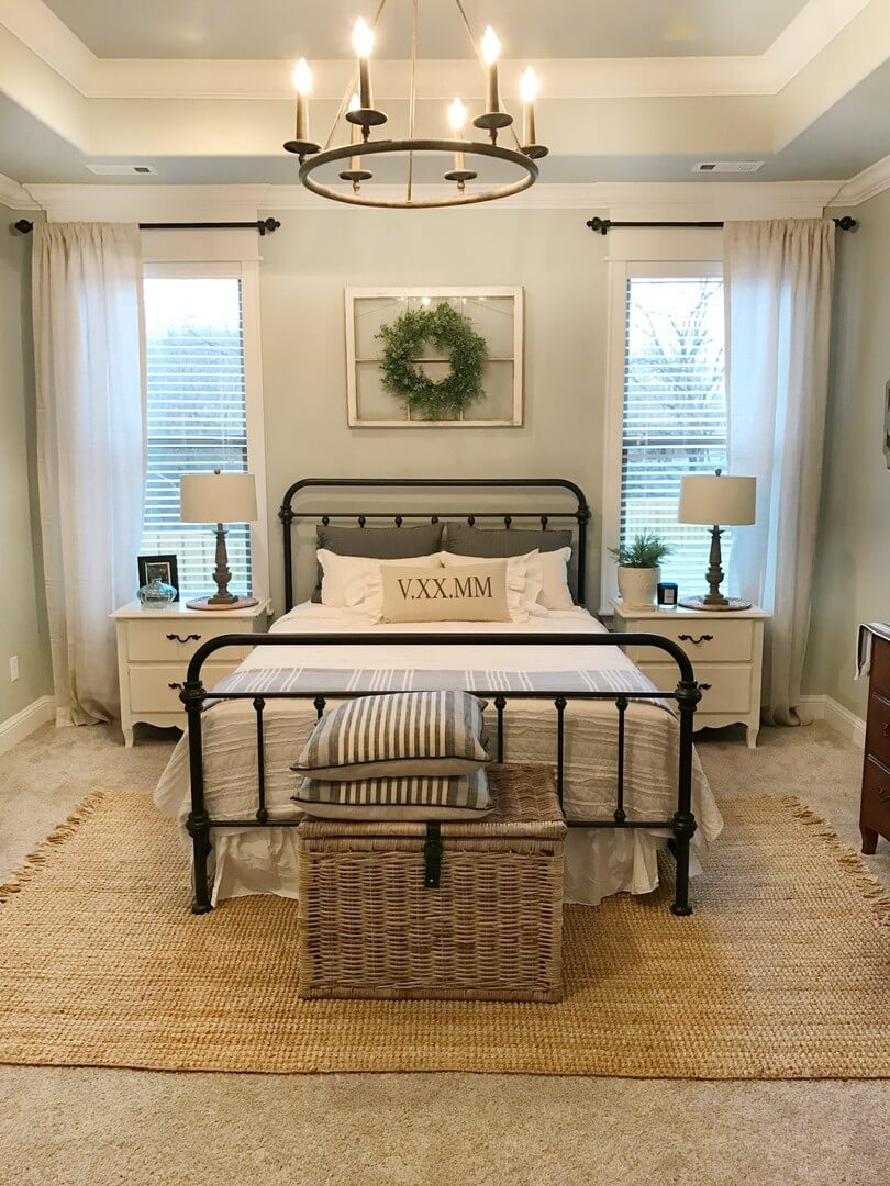 Farmhouse Lighting Designs & Ideas: Minimalist Chandelier in Master Bedroom