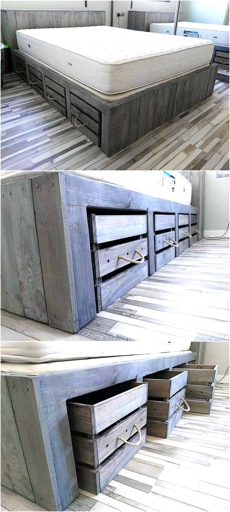 Rustic Look Giant Pallet Bed With Storage