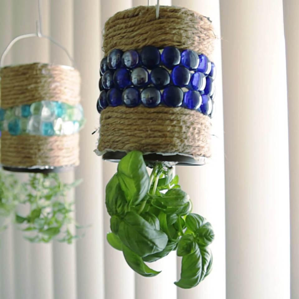 Hanging Herb Garden With An Old Coffee Can